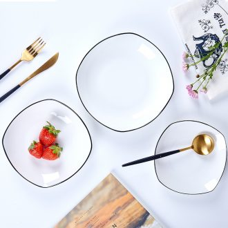 Jingdezhen ceramic northern wind hand-painted black border bone porcelain western square household dish dish dish dish dish pasta dish