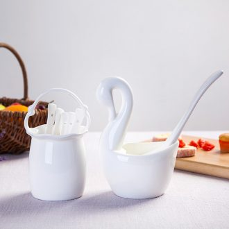 Jingdezhen kitchen shelf bone porcelain pure white bamboo chopsticks chopsticks box ceramics cutlery receive basket swan
