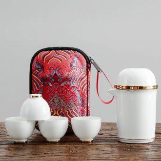 Bo yao crack cup a pot of 2 cup four convenient travel suit household kung fu tea set ceramic tea cup teapot