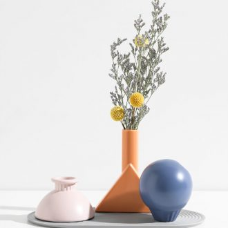 The Nordic idea geometric vase contracted desktop porch decoration furnishing articles sitting room bedroom dry flower arranging flowers ceramic flowers