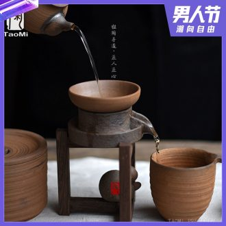 Tao fan coarse pottery tea automatically catch stone mill wenge ceramic tea every vintage tea filter filter tea tea set