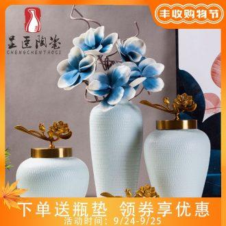 European ceramic vase furnishing articles desktop sitting room porch decoration ceramic white porcelain vases, flower implement simulation