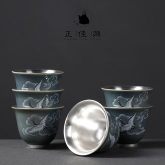 Is good source 999 sterling silver cups masters cup single kung fu tea tasted silver gilding sample tea cup ceramic cups domestic cup