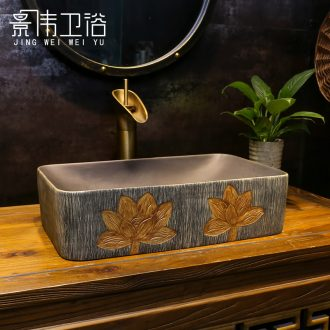 Chinese style on the balcony basin basin sink home antique wood grain ceramic lavatory toilet single number in the basin