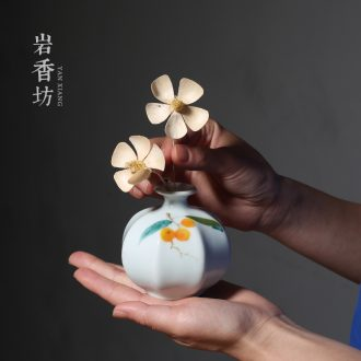 YanXiang fang celadon flowers inserted hand-painted ceramic loquat flower bottles household act the role ofing is tasted furnishing articles fashionable flower implement