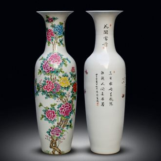 Jingdezhen ceramics hand-painted pastel of large vase peony is Chinese style living room office furnishing articles ornament