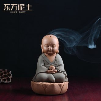 Oriental clay ceramic little novice monk censer furnishing articles creative living room bedroom incense coil aroma stove/D48-92