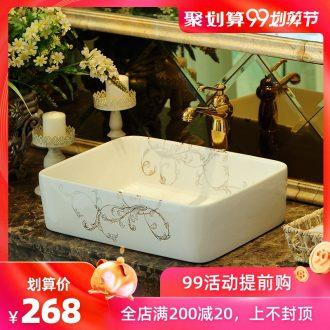 Spring rain square fashion simple sanitary ware jingdezhen ceramic stage basin basin sink art basin sinks