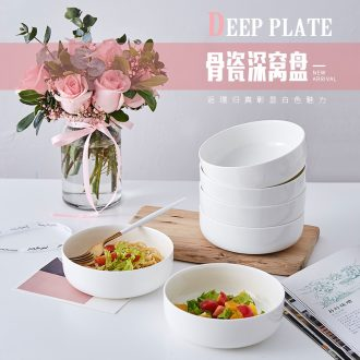 0 home round the white bone porcelain tableware ceramic white porcelain nest dish 6 inches deep microwave oven tray