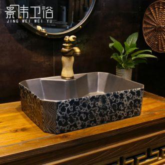 Black, blue and white stage basin of European art sink rectangular water chestnut retro lavatory household porcelain basin