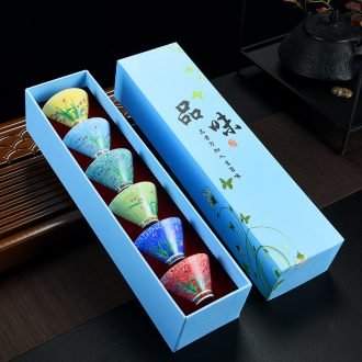 Old looking, color sample tea cup perfectly playable cup hand-painted ceramic thin foetus kung fu 6 gift boxes home tea cups