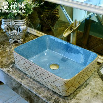 Retro art stage basin of jingdezhen ceramic lavatory square antique Chinese style basin on the sink