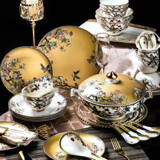 Jingdezhen tableware suit Chinese wind high-end dishes luxury european-style bone bowls disc household 88 wedding gift
