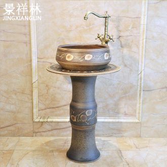 The balcony ceramic column type lavatory floor toilet basin one-piece balcony column on the post
