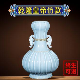 Better sealed kiln porcelain of jingdezhen ceramic big vase garlic furnishing articles blue bottle of home sitting room archaize porcelain ornaments