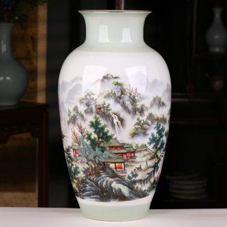 Jingdezhen ceramics landscape painting enamel vase furnishing articles sitting room porch decoration of Chinese style household large arranging flowers