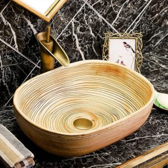 The stage basin oval ceramic lavatory wiredrawing basin of Chinese style antique art creative home toilet lavabo