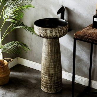 Carved porcelain sink basin of pillar type lavatory integrated home floor outdoor garden outdoor pool column basin