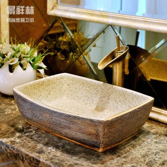 Package mail european-style rectangle jingdezhen art basin lavatory sink & ndash; Vintage wood grain
