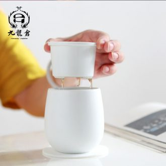 DH jingdezhen ceramic cups household with cover filter ceramic cup tea cup of office tea cup