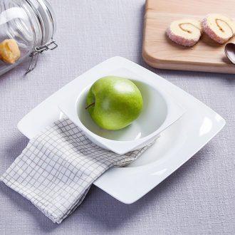 Pure white bone porcelain ceramic snack plate salad dish bowl of fruit bowl dish dish square LIDS, western-style food dish dishes