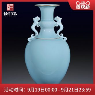 Archaize of jingdezhen ceramics powder blue glaze vase long belly sitting room porch home Chinese decor collection in furnishing articles
