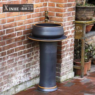 The sink ceramic basin of pillar type column one floor balcony outdoor toilet basin art wash basin