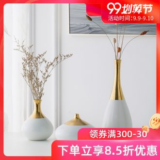Jingdezhen ceramic fine mouth vase boreal Europe style decoration flower arranging small mouth edge golden white porcelain furnishing articles the living room