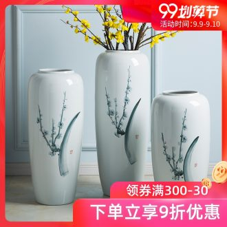 Jingdezhen ground vase living room TV cabinet flower arranging Chinese example room adornment is placed large white vase
