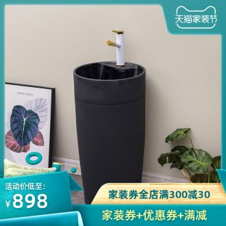 Black one-piece pillar basin floor ceramic lavatory balcony toilet lavabo contemporary and contracted household