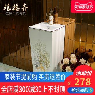 Small vertical column basin ceramic column type lavatory balcony one pillar basin floor toilet lavabo