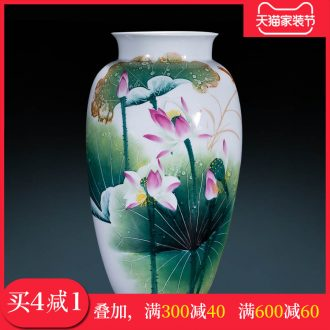 Jingdezhen famous master hand painted lotus ceramics vase furnishing articles new Chinese style decorates porch sitting room big furnishing articles