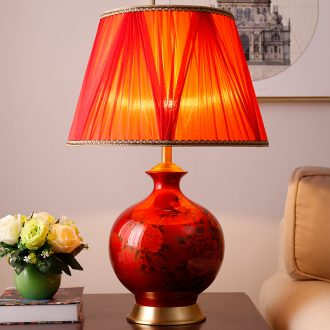 Wedding celebration of all the copper ceramic desk lamp retro sweet bedroom berth lamp romantic ideas sitting room study Chinese style lamps and lanterns