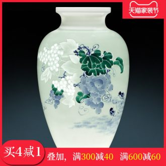 Jingdezhen ceramics Chinese master hand knife clay powder enamel vase wine sitting room adornment rich ancient frame furnishing articles