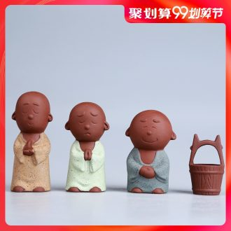 Hong bo acura ceramic tea pet furnishing articles play boutique creative personality three monks tea tea accessories