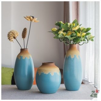 Chinese style is contracted and contemporary Mediterranean vase home furnishing articles pottery and porcelain vase three-piece art restoring ancient ways