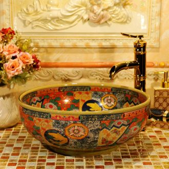 Round the stage basin ceramic art basin of continental retro pattern basin basin lavatory toilet hand basin