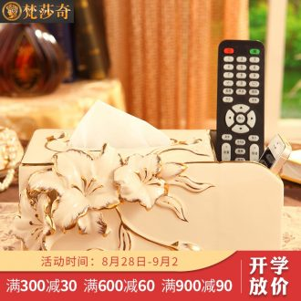 Vatican Sally's luxurious ceramic european-style tissue box creative household multifunctional smoke box remote control to receive living room