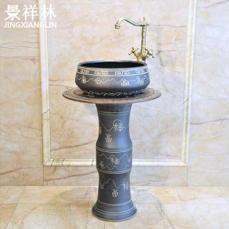 Toilet balcony basin three-piece jingdezhen ceramics art basin lavatory sink & ndash; blessing