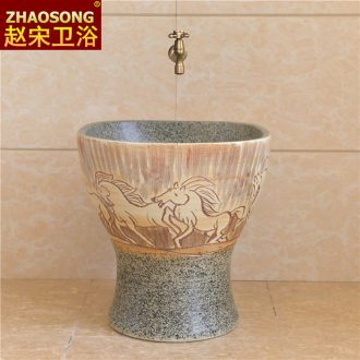 Northern wind restoring ancient ways of song dynasty conjoined mop pool bathroom ceramic mop basin outdoor balcony mop pool square