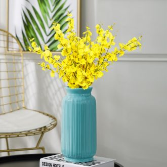 Contemporary and contracted ceramic living room TV ark floral decoration blue vase dried flowers Nordic home decoration