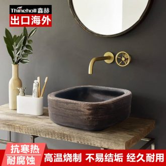 The stage square ceramic basin of Chinese style hand washing dish industrial wind restoring ancient ways bathroom toilet household art wash basin