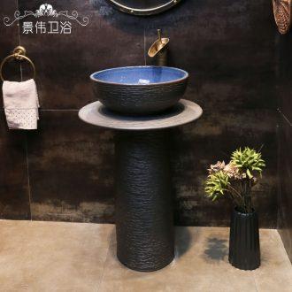 Retro knife engraving pillar type lavatory outdoor patio archaize floor pillar ceramic outdoor stage basin