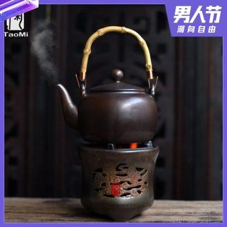 Tao fan ceramic coarse pottery pot boiling pot heat girder alcohol stove heated furnace insulation teapot candle tea set