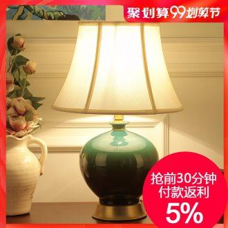 Full copper ceramic desk lamp bedroom nightstand lamp American sitting room atmosphere lamp dimming bedroom ceramic lamp