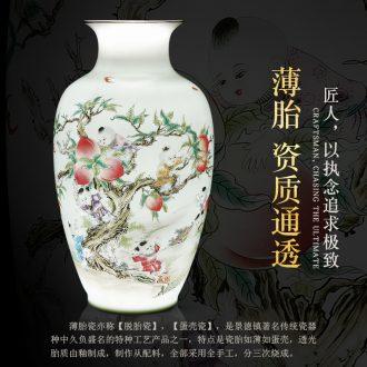 Jingdezhen ceramics enamel vase thin foetus pervious to light the colour vase vases, rich ancient frame porch decorate furnishing articles