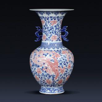 Jingdezhen ceramics imitation qianlong phoenix ears of blue and white porcelain vase flower arrangement sitting room place a housewarming gift porcelain