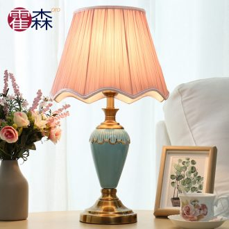 European-style bedroom ceramic table lamp contracted and contemporary creative household marriage room warm bed lamp American luxury