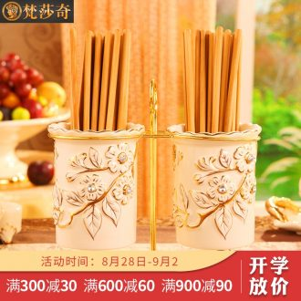 Vatican Sally's new European chopsticks chopsticks cage luxury home kitchen ceramic tube drop binocular chopsticks chopsticks holder