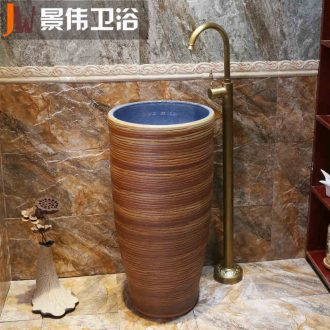 Pillar basin of wash one integrated vertical lavatory basin floor balcony sink sink outdoor ceramics